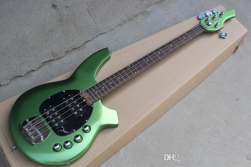 Factory custom! Metal Green 4 Strings Electric Bass Guitar with Black Pickguard,Rosewood Fretboard,24 Frets,offer customized