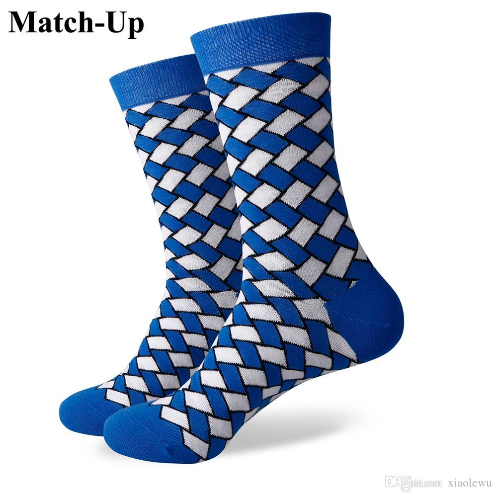 2016 yeni erkekler renkli penye pamuklu çorap, ekose çorap, ücretsiz nakliye, ABD boyutu (7.5-12) 369