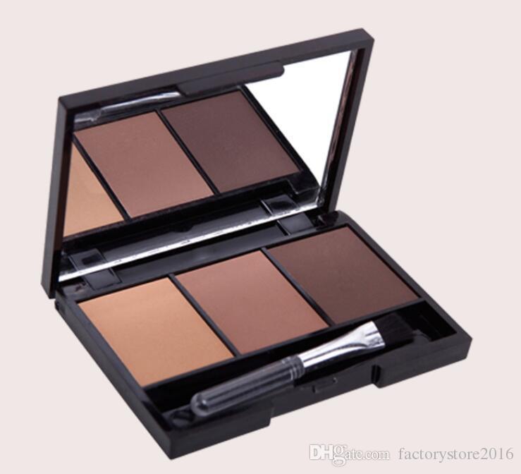 3 Cor Paleta de Sobrancelha Em Pó Cosméticos Marca Profissional Maquiagem Sombra de Olho À Prova D 'Água Com Escova Espelho Caixa Frete Grátis