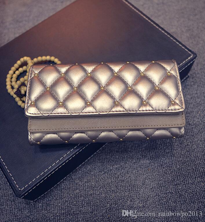 Borsa portafogli in pelle di marca all'ingrosso della fabbrica di copertura doppia personalità mano moda donna classica rivetto Argyle Portafoglio ricamato