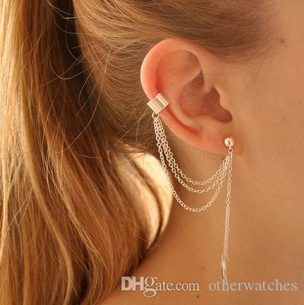 Личность серьги уха клип металлический лист кисточкой серьги