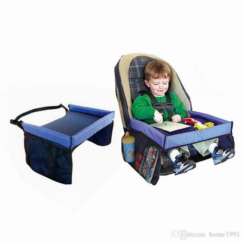 New Baby Toddlers Cinturón de seguridad del coche Bandeja de juego de viaje Mesa plegable plegable Cubierta de asiento de coche de bebé Arnés Cochecito Mesas para sillas de paseo