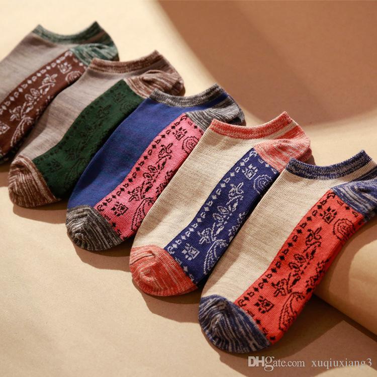 Grosses soldes! Chaussettes pour hommes à rayures Chaussettes pour hommes Femmes Coton Casual Printemps Eté Automne Court Mode Chaussette Homme