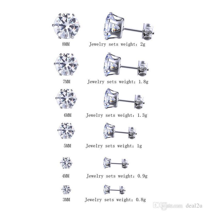 14K Rose Gold Plated CZ Stud Earrings Clear Black CZ Stud Ear Stud 4mm To 8mm