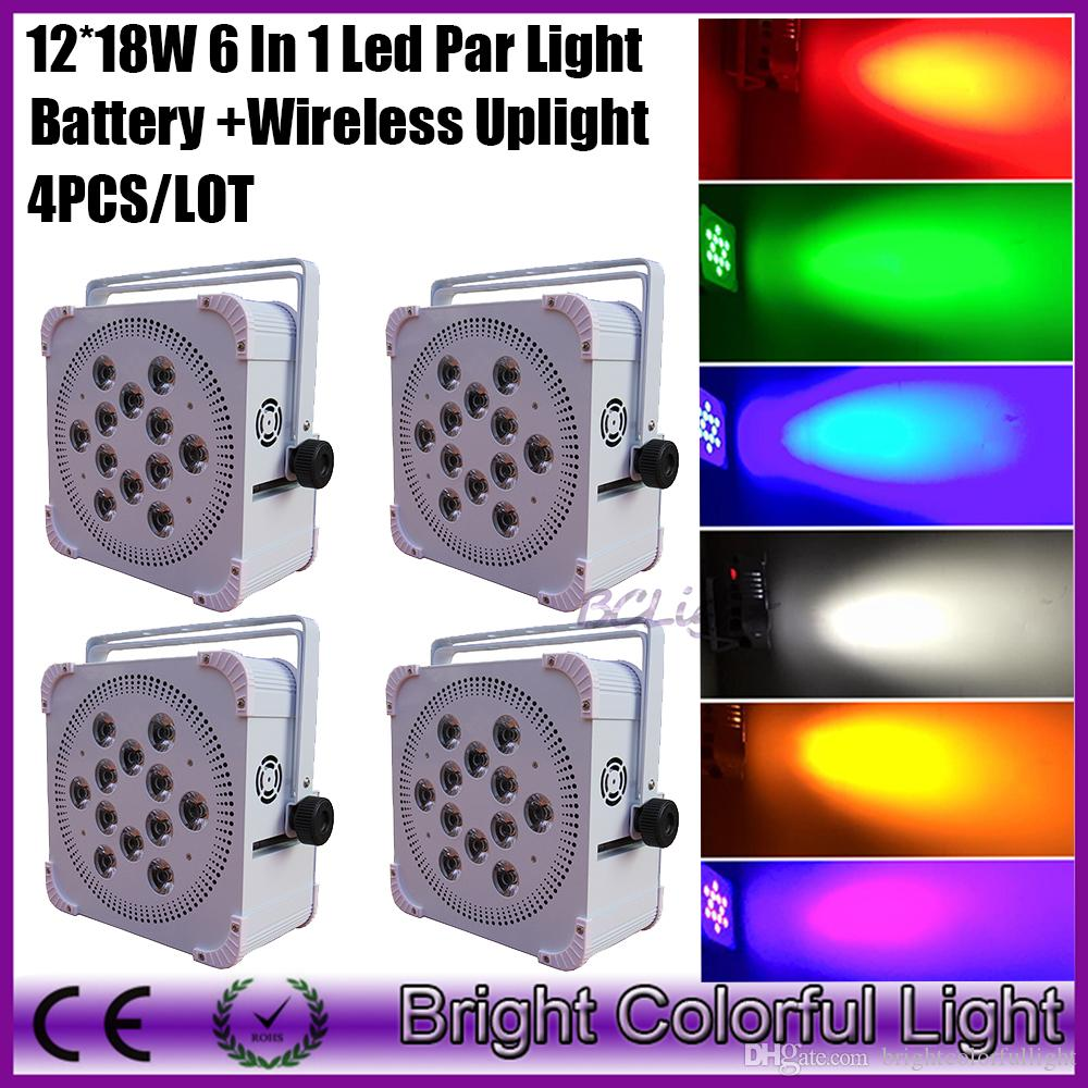 4XLOT Newest DMX512 battery stage light flat wireless 18w 6in1 battery powered super bright led par up light for wedding
