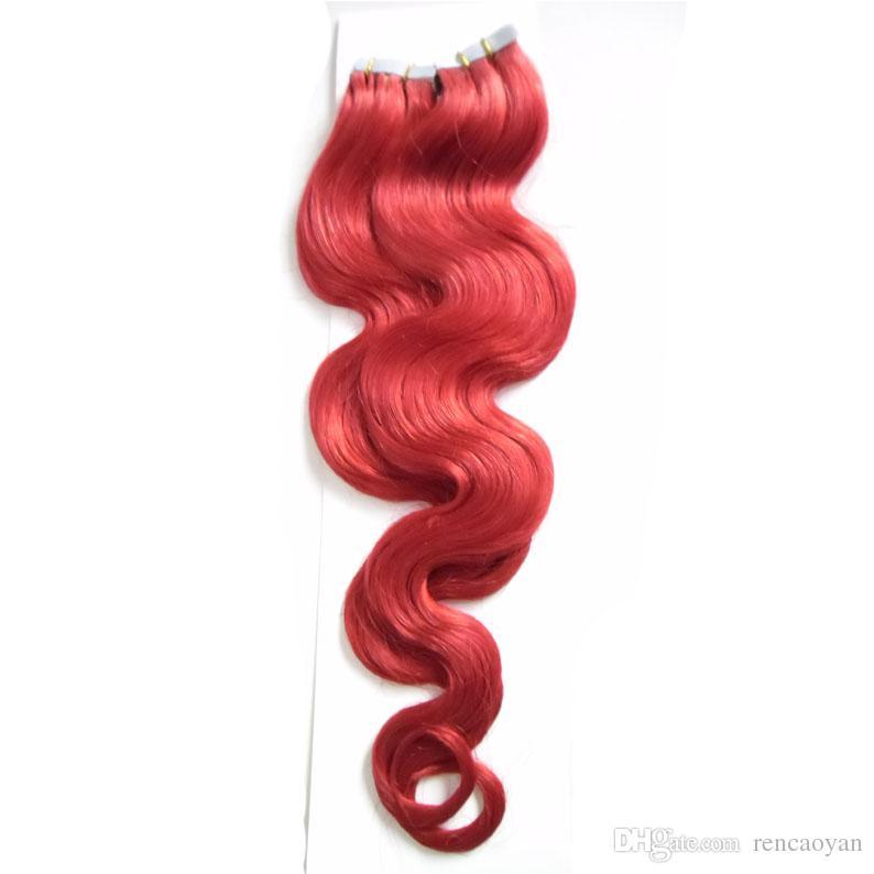 Onda do corpo brasileiro cabelo virgem máquina cabelo feito Remy na fita adesiva PU trama da pele Invisible 100g (40pcs) Fita em extensões de cabelo humano
