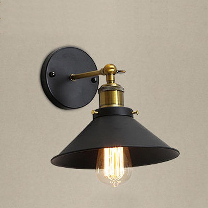 Бесплатная доставка Промышленные Vintage Retro Iron Wall Лампы Unberlla черный абажур антикварный светильник для бара кухня столовая спальня WA068