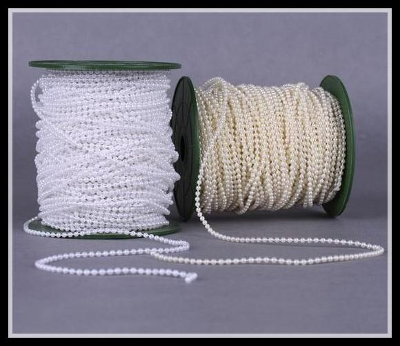Free Shipping 100Meters/Roll 2.5mm White/Ivory Cotton String Pearl Garland Bead Chain DIY Wedding Centerpiece Flower Accessories