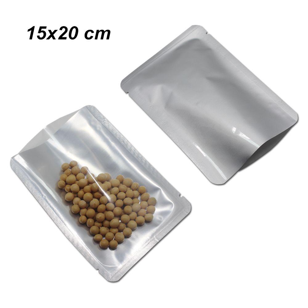 50 teilelos 15x20 cm filet oben offen reine aluminiumfolie klar vakuumbeutel paket beutel pure mylar folie filet schweißbeutel