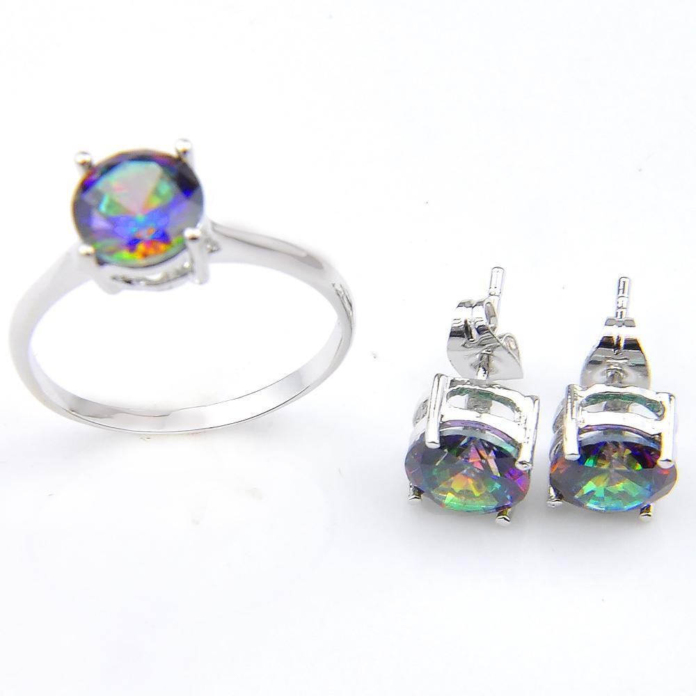 Ny anländer 2 färg mode brud tillbehör färgglada kristall smycken ringar stud örhängen för älskare smycken sätter gratis frakt z0001
