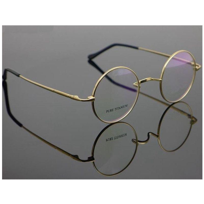 التيتانيوم النقي خمر صغيرة مستديرة 42 44mm جون لينون إطارات النظارات قصر النظر RX نظارات قادرة