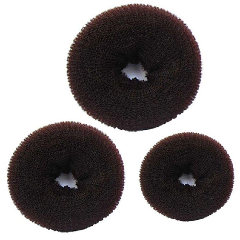 3 PCS Éponge Femmes Cheveux Bun Anneau Donut Shaper Maker Bandes De Cheveux Anneaux Cravates Corde Café #Y
