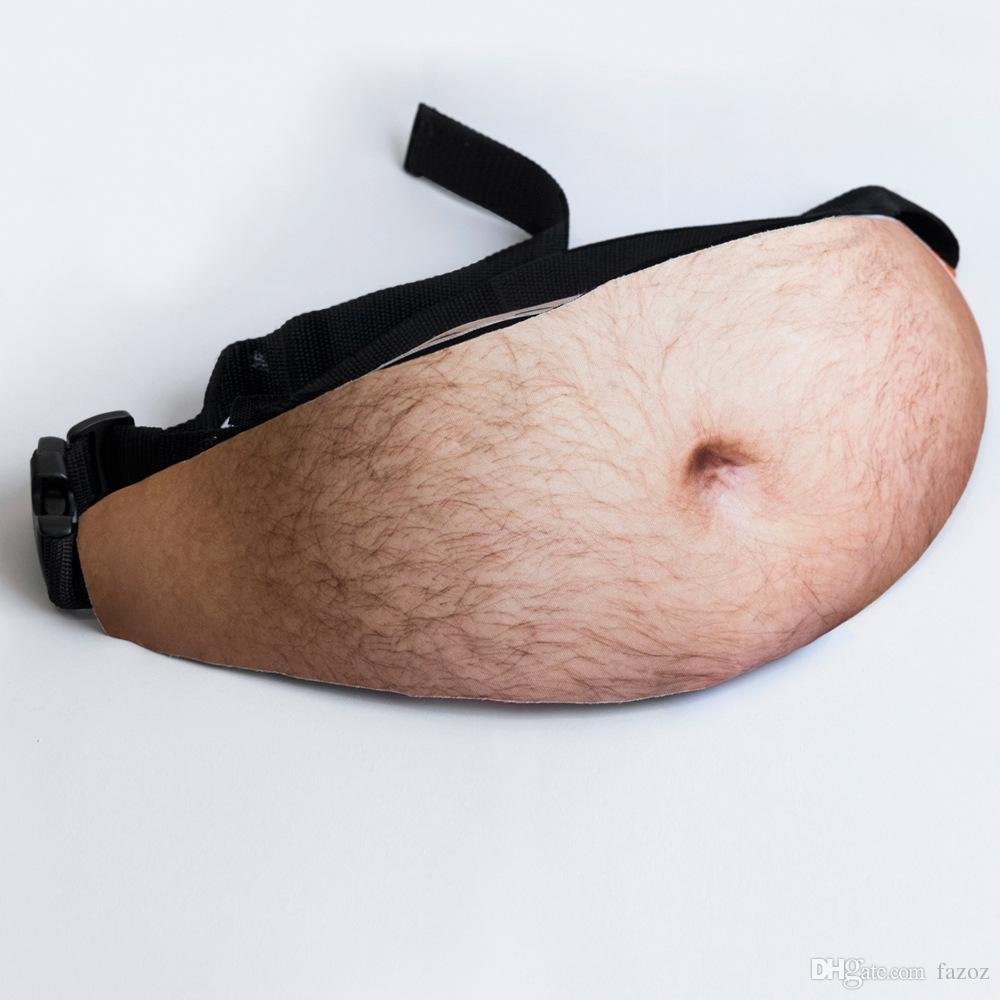 Papa Sac Faux Poilu ventre de bière Dadbag Fanny pack mâle taille Sacs papa Bod drôle Simulé estomac Pouch Hip Ceintures pour sac banane hommes