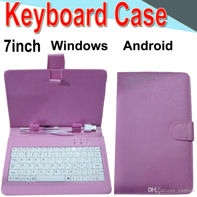 Wire Keyboard Case 7inch Cover for Android Windows Ultra Thin Wireless Color ABS Keyboard PU Case Universal Mobile Phone XPT-4