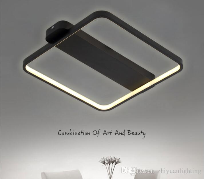 Modern LED Tavan Lambası Kare Aydınlatma Armatür Oturma Odası Yatak Odası Mutfak Için Siyah Beyaz Vücut Mutfak Lamparas Işık Fikstür