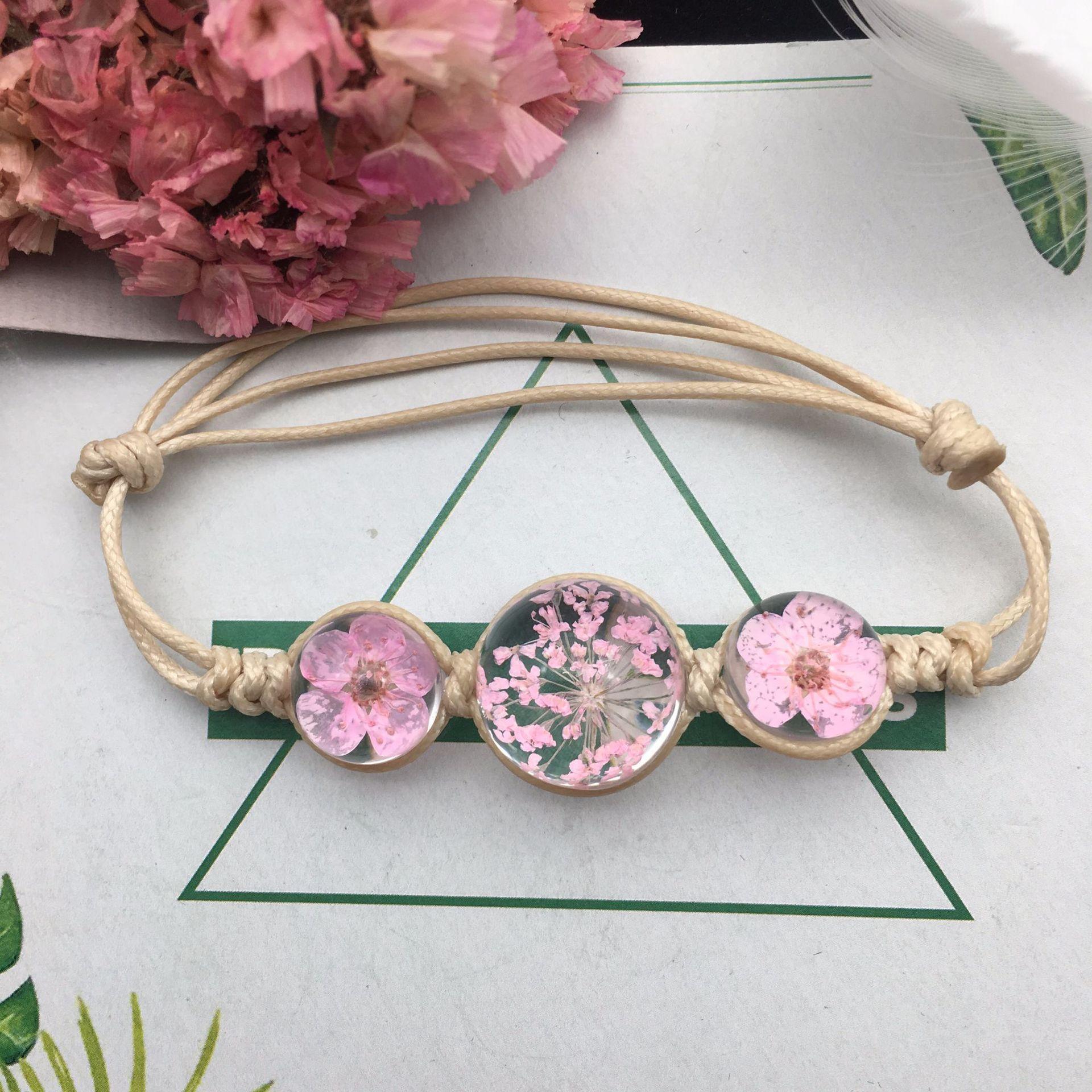 Summer Style Glass Ball Woven Bracelet Weave Lucky Flower Bracelets Handmade Dried Flowers Glass Beads Bracelet Women Jewelry Holiday Gift