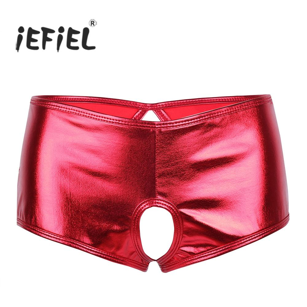Women Wetlook Brief Leather Bikini Crotchless Shorts Underpants Boyshort Panties