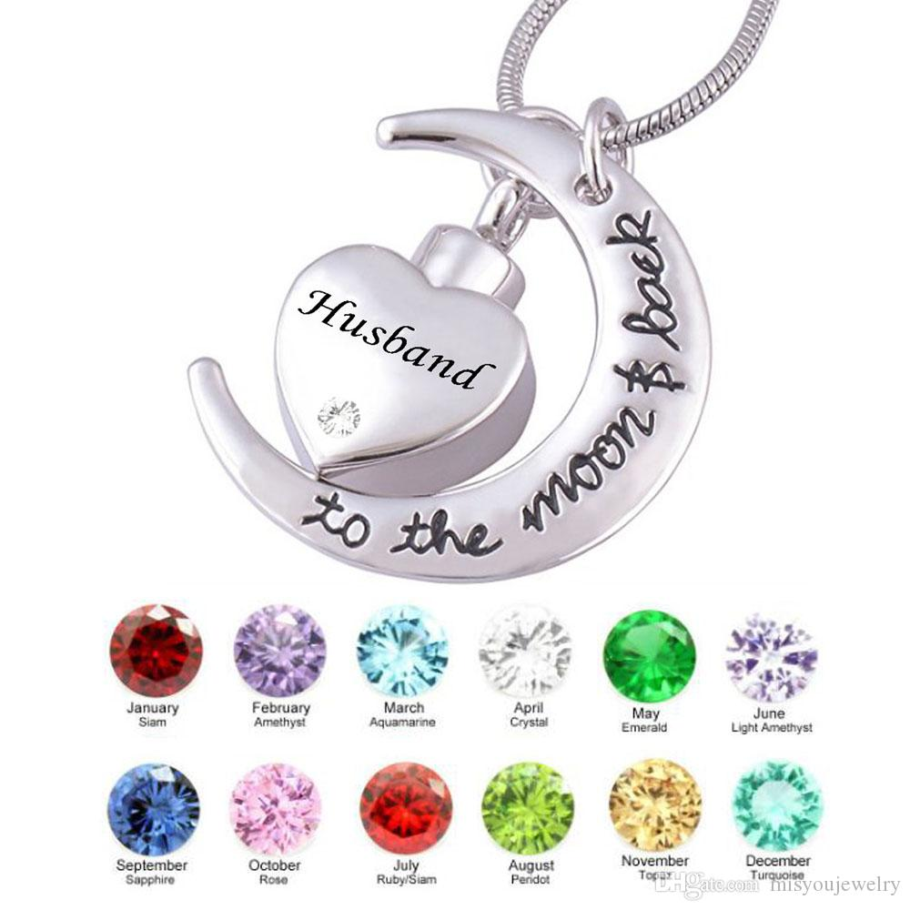 Fashion jewelry pendant husband moon heart birthstone Cremation Urn Jewelry Necklace Pendant for Keepsake Memorial Ashes