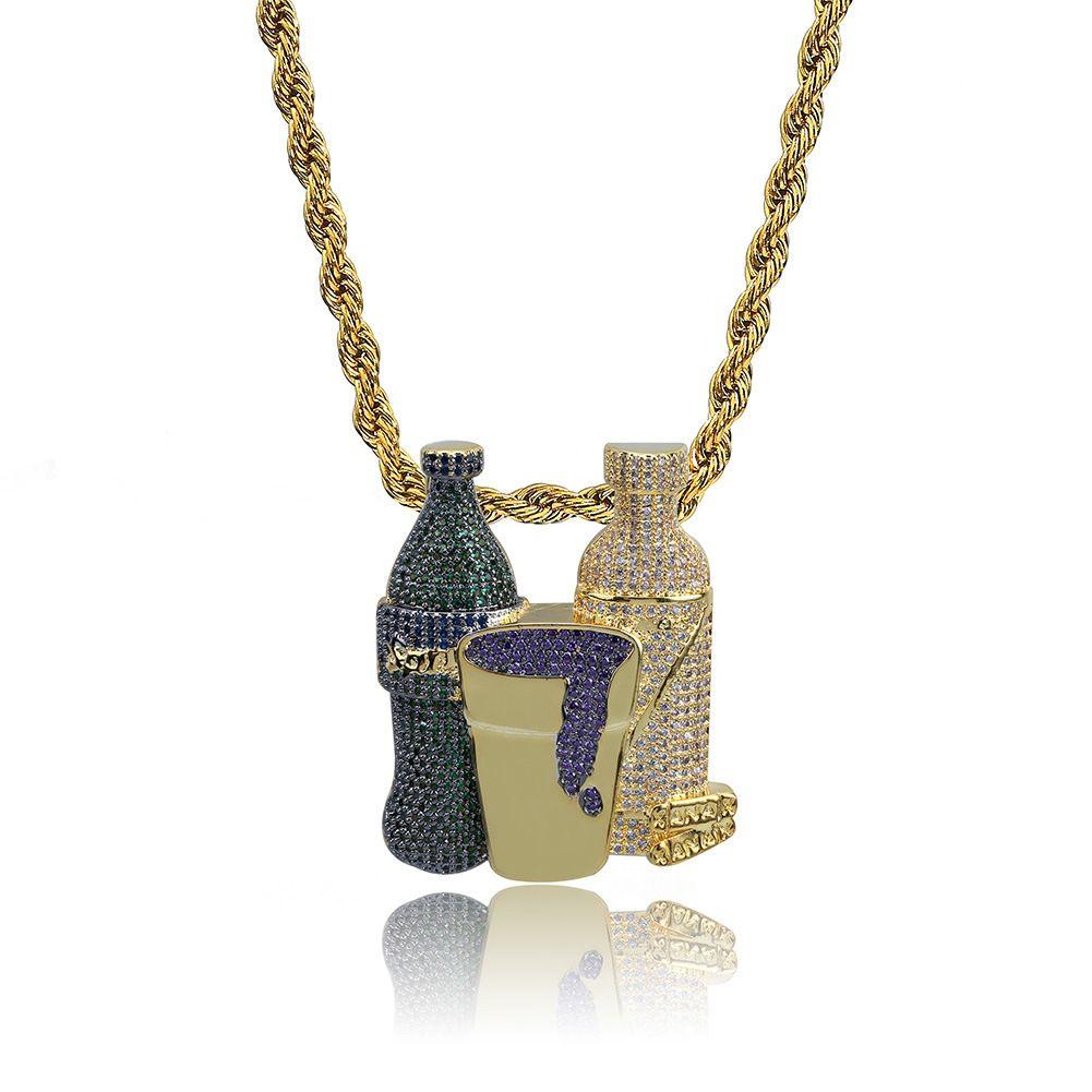Double Sprite Bottle Purple Cup Hip Hop Pendant Necklace Gold Silver Color Cubic Zircon Men's Jewelry With 4mm Tennis Chain