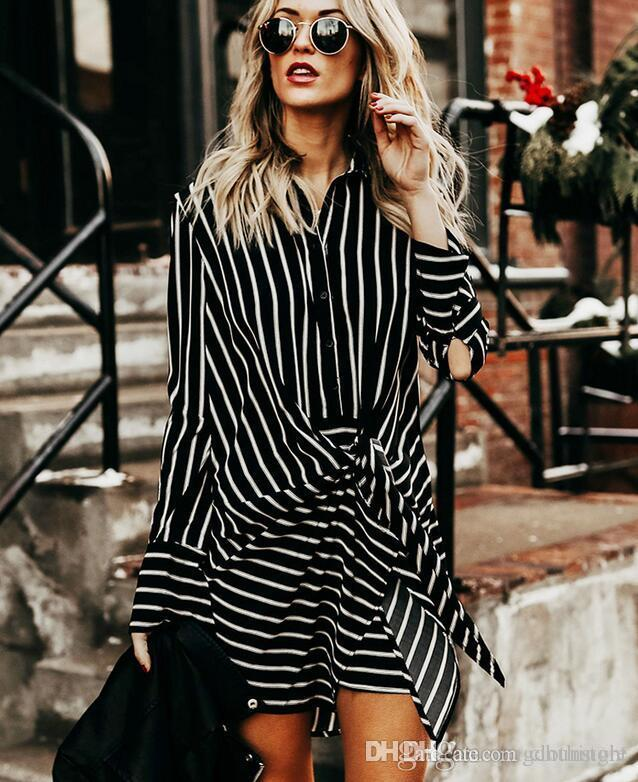 2018 Europe and the United States spring and summer new dress long sleeves striped shirt Slim work skirt