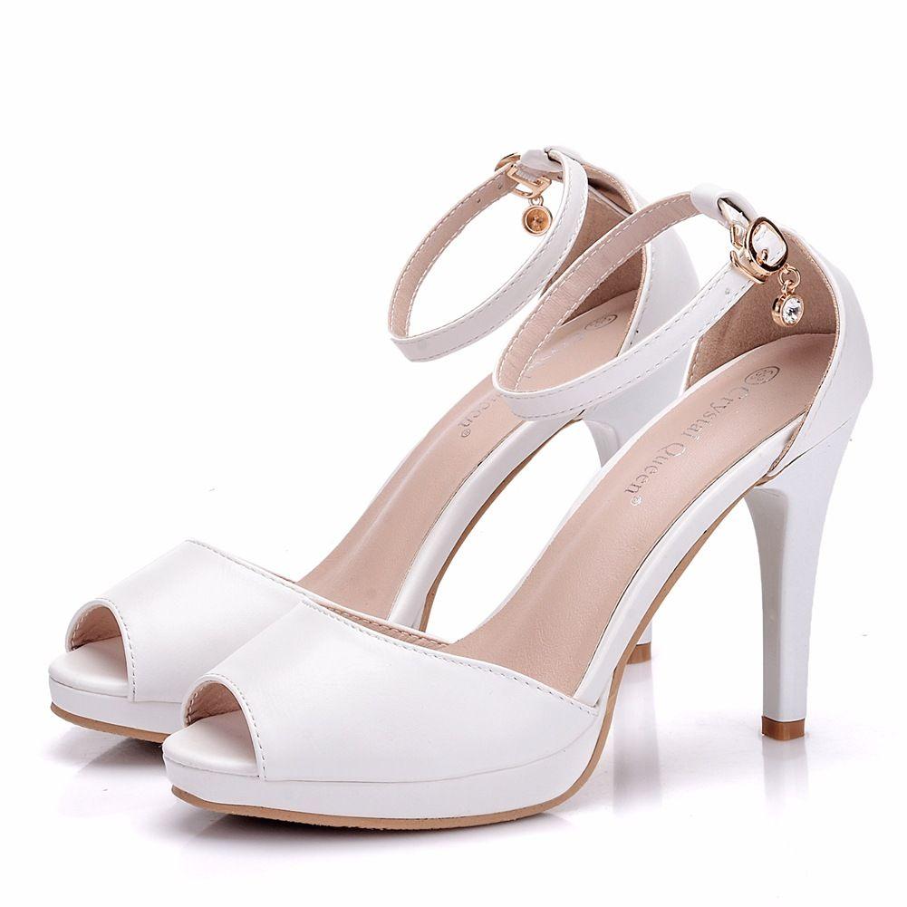 Scarpe Da Sposa Aperte.Acquista New Fashionl Scarpe Da Punta Aperte Stile Semplice Donna