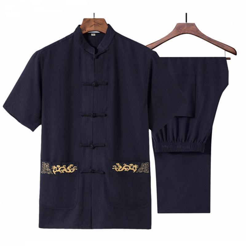 중국어 번체 당나라 정장 느슨한 자수 태극권 설정 여름 코튼 리넨 만다린 칼라 ShirtPant 크기 S-3XL