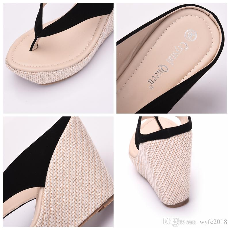 defd07a5954623 Crystal Queen Women Summer High Heel Slippers Platform Sandals Ladies  Wedges Sandals Brand Flip Flops Shoes ...