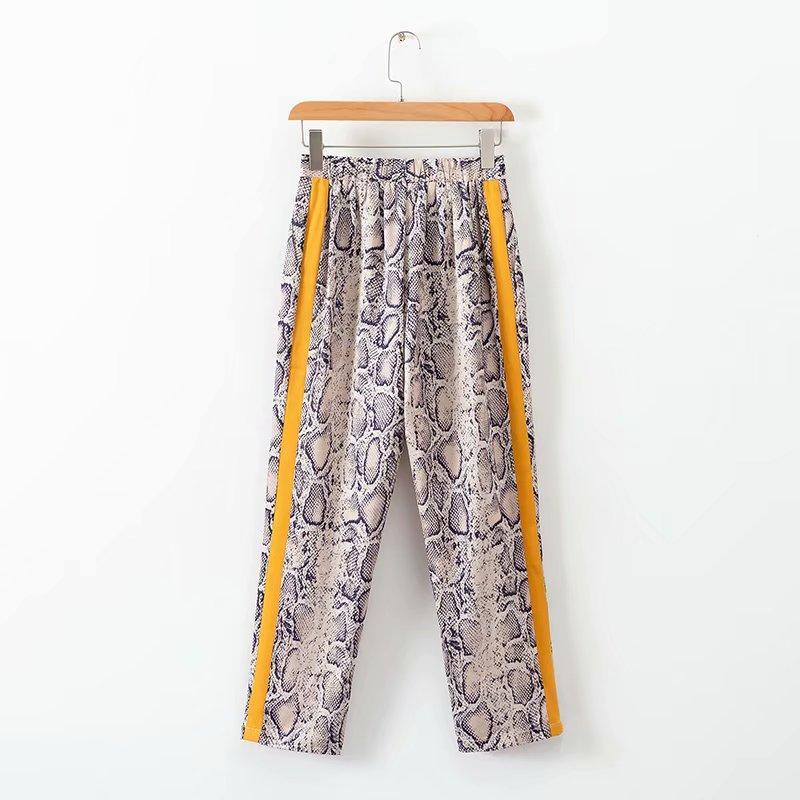 2018 Women Vintage snake skin Print side stripe pants ankle length elastic waist pocket Trousers female sexy Leisure Pants P150