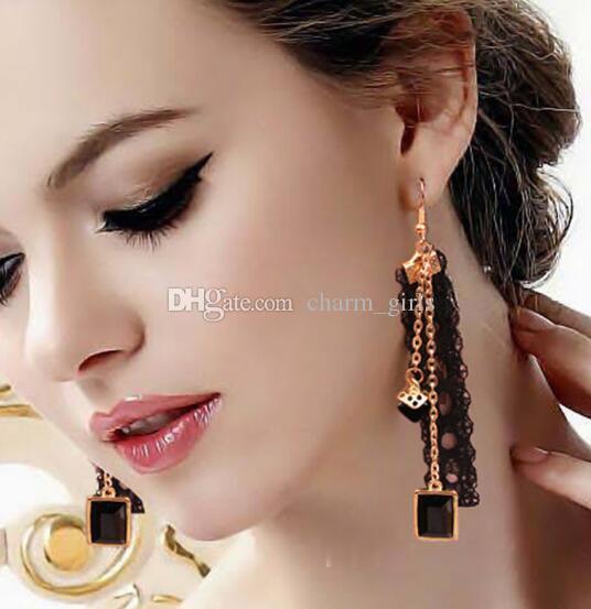 nouvelle coréenne chaude boucles d'oreilles en dentelle noire fille cristal ruban personnalité mode gland boucles d'oreilles mode classique élégant