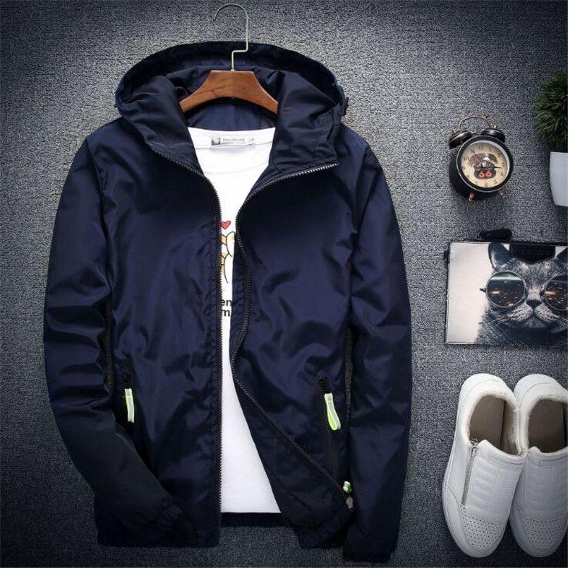 Горячие Мужские ветровки куртка мужчины балахон пальто стильный мода Мужчины Женщины с капюшоном тонкий ветровка молния пальто и пиджаки подходят