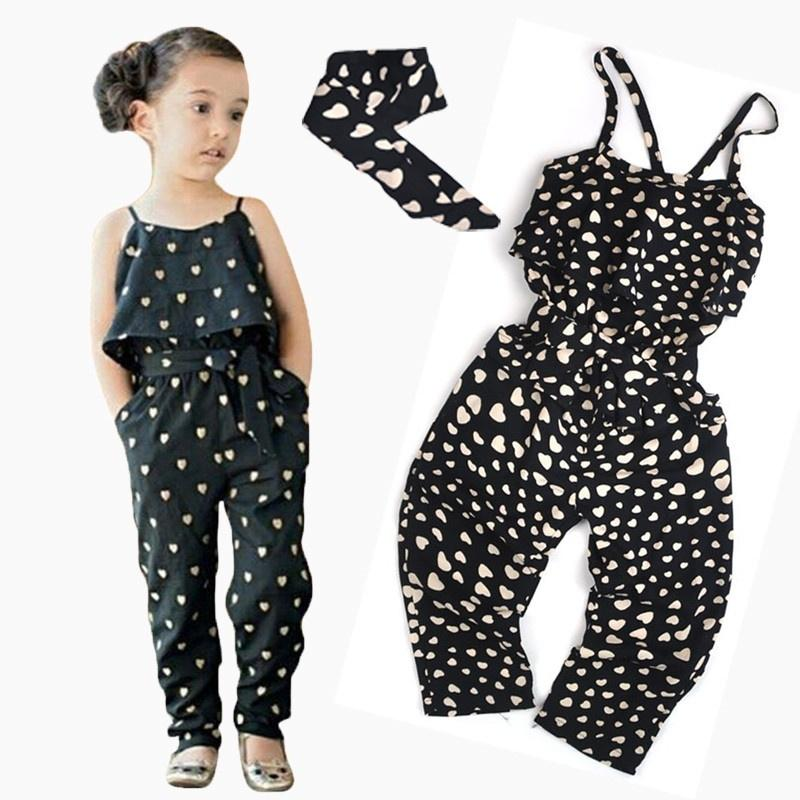 Toddler Kids Baby Girls Heart-shaped Romper Clothes Summer Outfits Jumpsuit Set