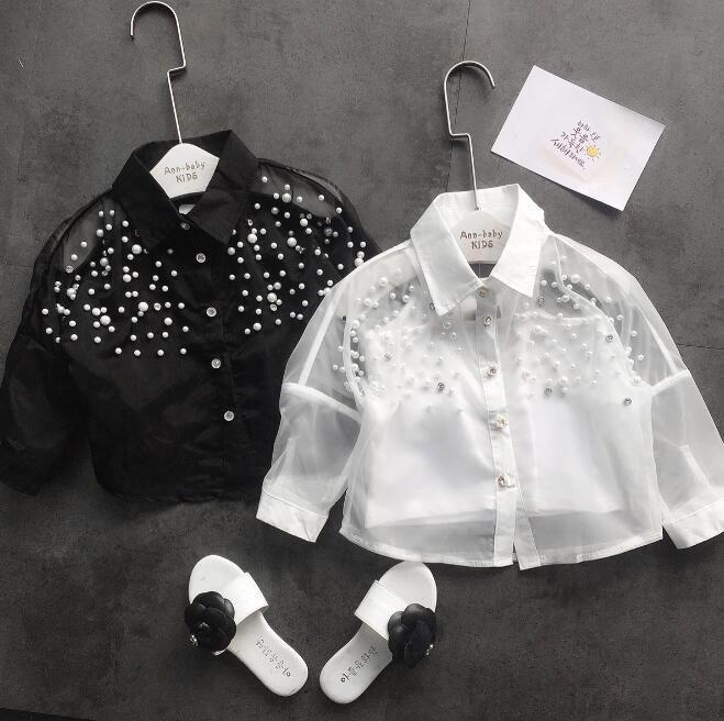 2018 nuove camice bianco ragazze di modo di estate a maniche lunghe ragazze supera canottiere camicette + camicia 2pcs / set di charme bambini bambini abbigliamento vestiti