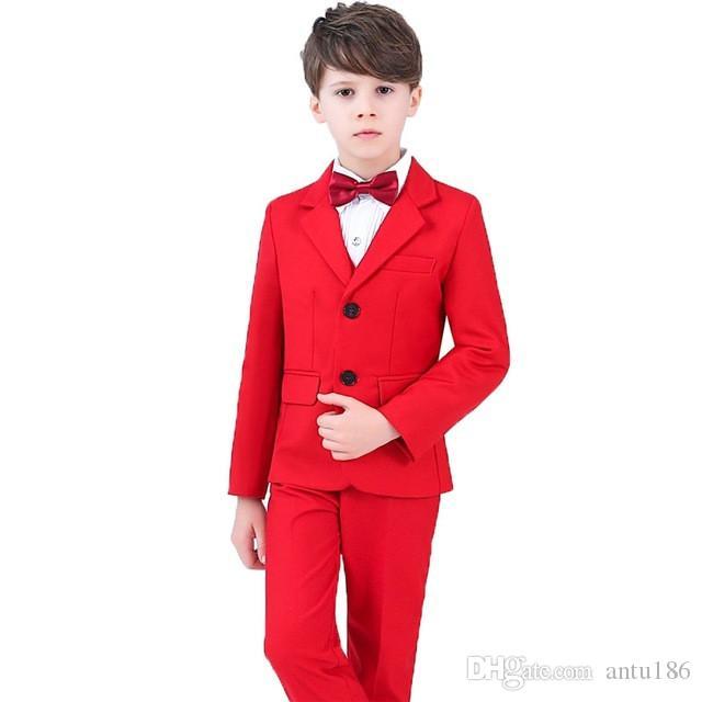 Yeni yüksek kalite katı renk erkek takım elbise erkek takım elbise üç parçalı takım (ceket + pantolon + yelek) çocuk parti elbise destek özel