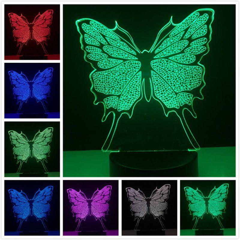 Lovely Butterfly 3D Illusion LED Night Lights Colorful Lampada da tavolo Regali Xmas Home Decor Acrilico Light Fixtures # R21
