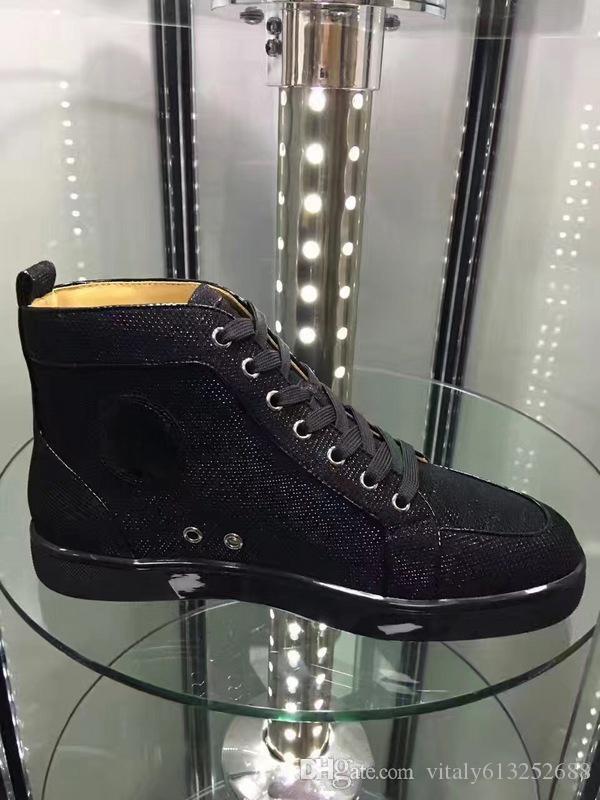 Z pudełkiem czarny miękki skórzany spadek i zima biegnących spacer mody Nowe Unisex Men High Top Wysokiej jakości czerwony dno w obuwnich butach.