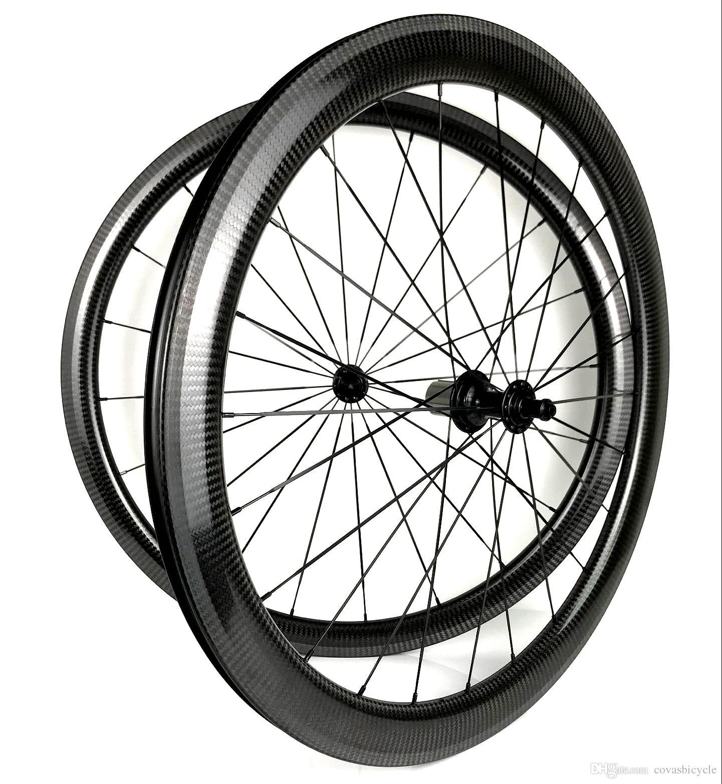عجلات الكربون 700C الطريق 25 مم العرض Front-38mm العمق -50 مم الفاصلة / أنبوبي الطريق الدراجة الكربون العجلات مع محاور Powerway R13