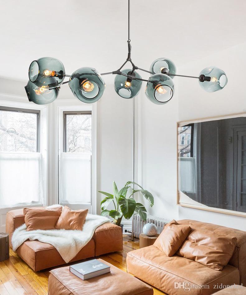 İskandinav Sanatı LED Cam Kolye Işık Lindsey Adelman Avize Mutfak Sihirli Fasulye Ağaç Dalı Süspansiyon Asılı Işık Fikstür