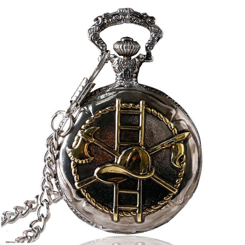 1 Pcs Relogio De Bolso Dark Silver & Golden Firefighting Theme Quartz Fob Chain Pocket Watch For Women Man