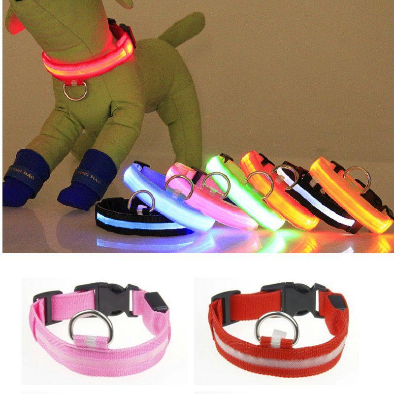 8 цветов LED нейлон ошейник собака кошка жгут мигающий свет ночь безопасности Pet ошейники мигающий Satety воротник
