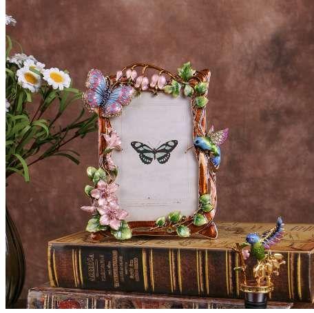 4X6 inch New Photo Frame Cute Diamond Bird Metal Creative Home Decoration Wedding Photo frame birthday gift wholesale
