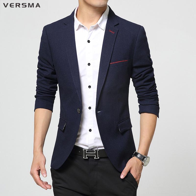 orologio d3634 3721f Acquista VERSMA 2017 Abbigliamento In Stile Coreano Giacca Da Uomo Elegante  Giacca Da Festa Abbigliamento Da Festa Fitted Giacca Azzurra Da Uomo Di ...