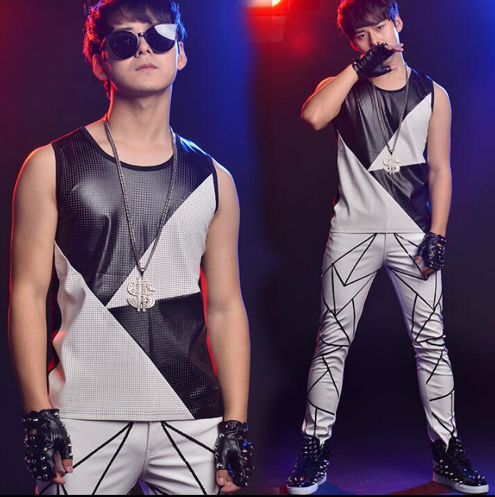 2020 2018 Summer Style Personality Slim Male Sleeveless Vest Men Splice Vests Punk Rock Chalecos Singer Dance Stage Star Fashion From Hongzhang 104 87 Dhgate Com