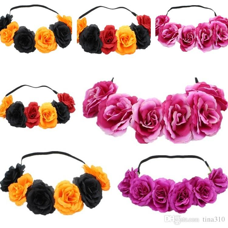 Venta caliente Rose Hairband Guirnalda Pelo Bows Bohemia Hecho A Mano ArtificialSeaside Flower Crown Body Wedding Bridal Tocado Taburma T6I061