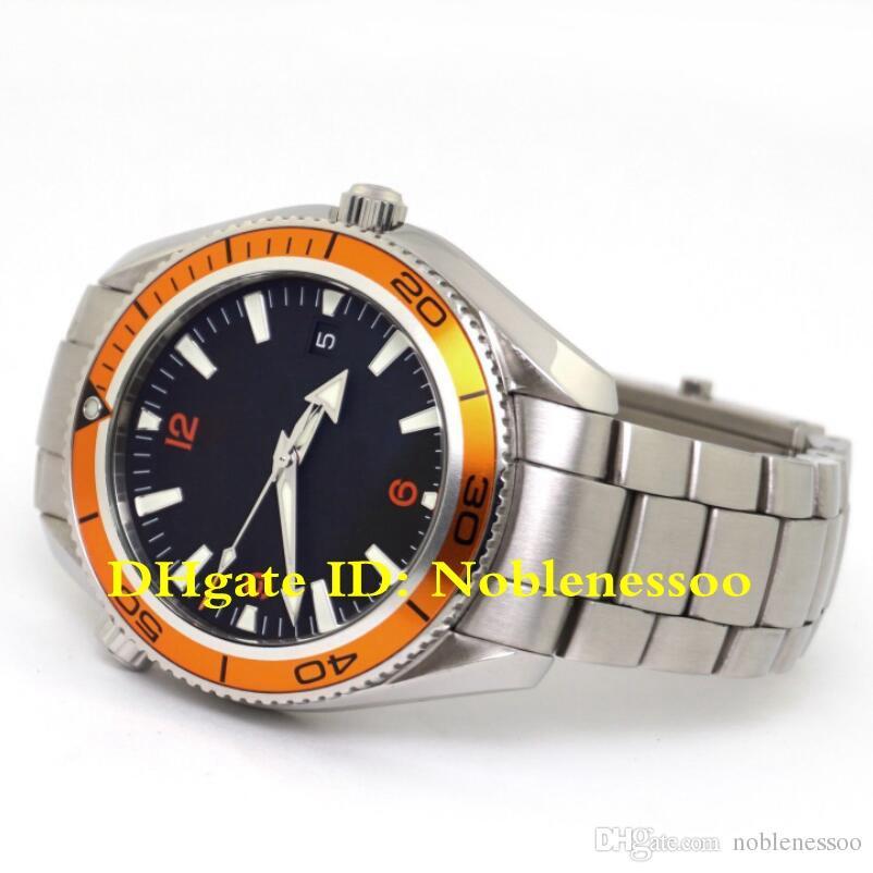 6 Mens di stile di lusso della vigilanza degli uomini di Planet Ocean Arancione Lunetta 2.209,50 nero 42MM Co-Axial automatico James Bond 007 Asia 2813 orologi automatici