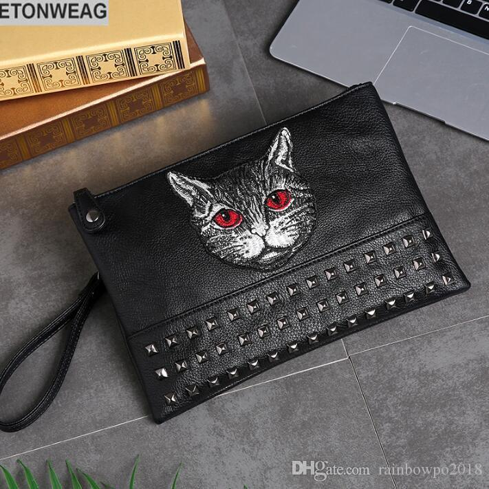 Original design cat style embroidery fashion hand grab bag large capacity rivets shoulder bag street fashion embroidery leather hand holding
