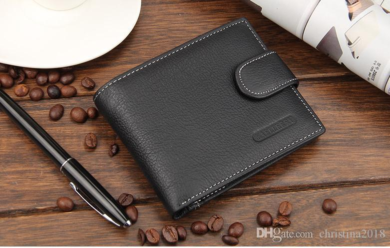 New Design Baellerry Men Genuine Leather Short Wallet Money Clips Coin Cash Purse Male Pocket Pochette Clutch Bag Card Holder
