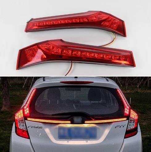 2PCS Para Honda Jazz Fit 2014 2015 2016 2017 Car LED Luz Traseira de Pára-choques traseiro Luz de freio Luz Auto bulbo decoração da lâmpada