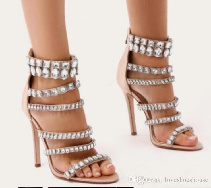 2018 mujeres brillan los zapatos de fiesta Diamand stud Falso Suede sandalias boda zapatos rhinestone sandalias de cristal punta abierta