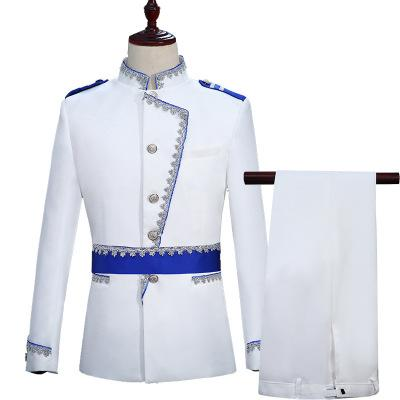 Hot Europe Army Style Stand Collar White Blue Wedding For Men DJ Stage Singer Men Suits With Pants Costume Homme Slim Fit