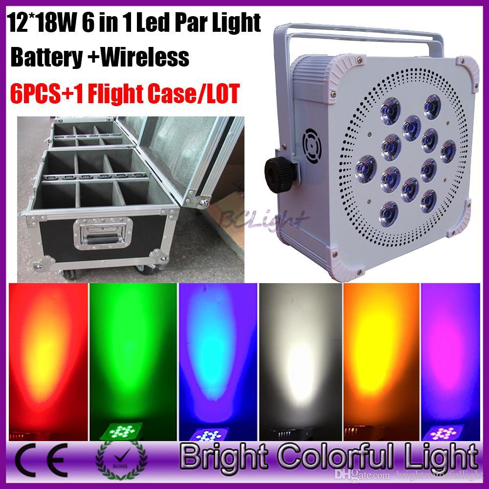 Brightest 12*18W RGBAW+UV wireless dmx led par /rechargeable battery power wireless DMX led slim par light 6pcs+1 fly case/lot